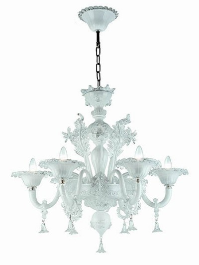 Murano glass chandelier mod. 208-6 white