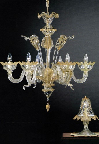 Murano glass chandelier mod. 208-6 clear